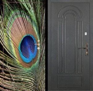 Входная металлическая дверь фотопечать и порошок с декором СП054